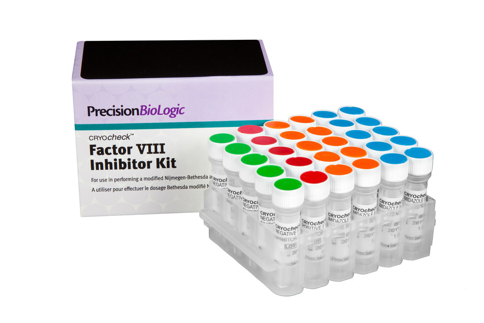 The CRYOcheck(TM) Factor VIII Inhibitor Kit contains standardized reagents and a validated procedure to prepare patient samples for performing a modified Nijmegen-Bethesda assay as per the U.S. Centers for Disease Control and Prevention (CDC) recommendation. Visit www.precisionbiologic.com/FVIII-Kit to learn more. (CNW Group/Precision BioLogic)