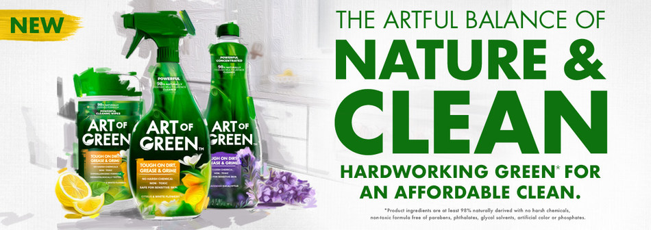 AlEn USA launches a new line of nature-based household cleaners called Art of Green available in three product formats: a multipurpose cleaning spray, multipurpose wipes and a concentrated refill.
