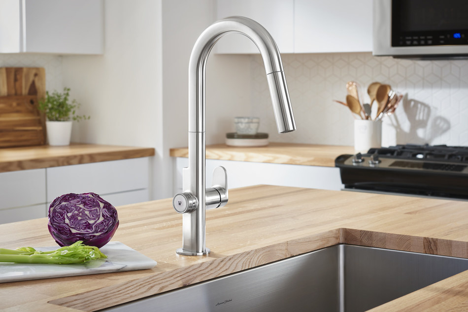 The winner of a 2019 iF DESIGN AWARD, the Beale MeasureFill Touch kitchen faucet from American Standard employs industry-leading technology to deliver an adjustable set volume of water on demand ― ranging from a half cup up to five cups ― giving consumers the precise measurement faster than using conventional measuring cups.