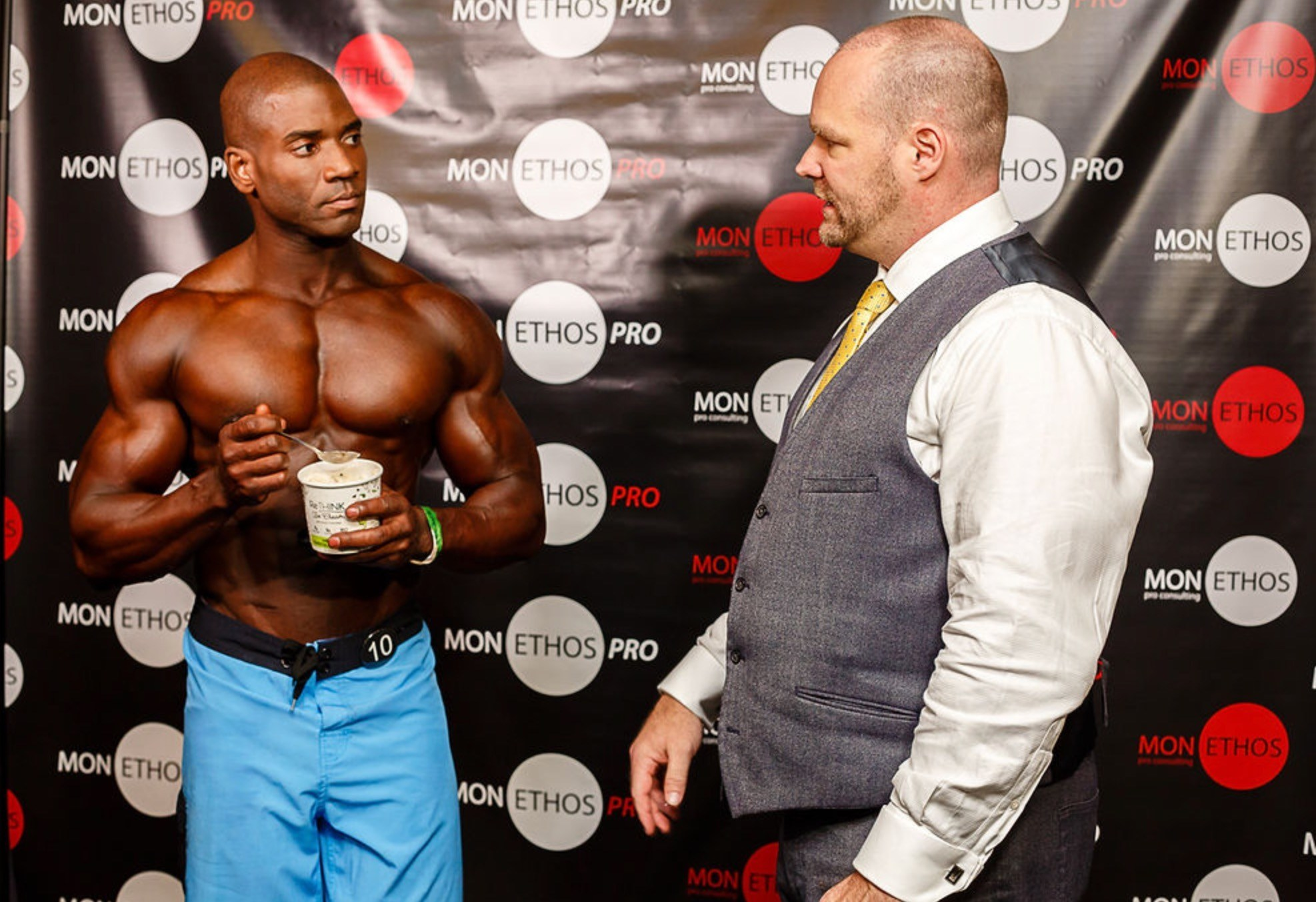 IFBB Pro and Mon Ethos Pro Athlete Xavisus Gayden and Mon Ethos President David Whitaker