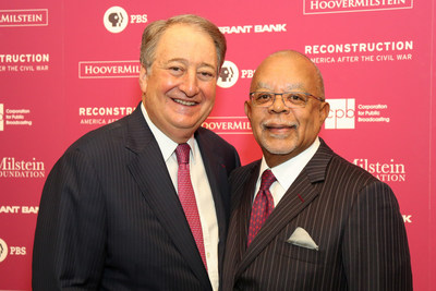 """Howard Milstein (l) and Dr. Henry Louis Gates, Jr. (r) celebrate the launch of Dr. Gates' new series """"Reconstruction: America After the Civil War,"""" at a March 4, 2019 event at the New-York Historical Society."""