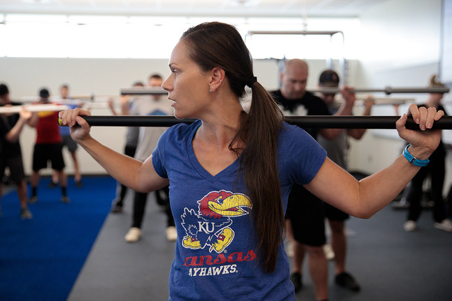 Ashley Herda, assistant professor of health, sport and exercise sciences at KUEC, leads a strength and conditioning lab in October 2018. Heavily involved in the development of the new online B.A.S. in Exercise Science, Herda said she's excited to offer this type of traditionally lab-based,'hands-on' classes through virtual labs.