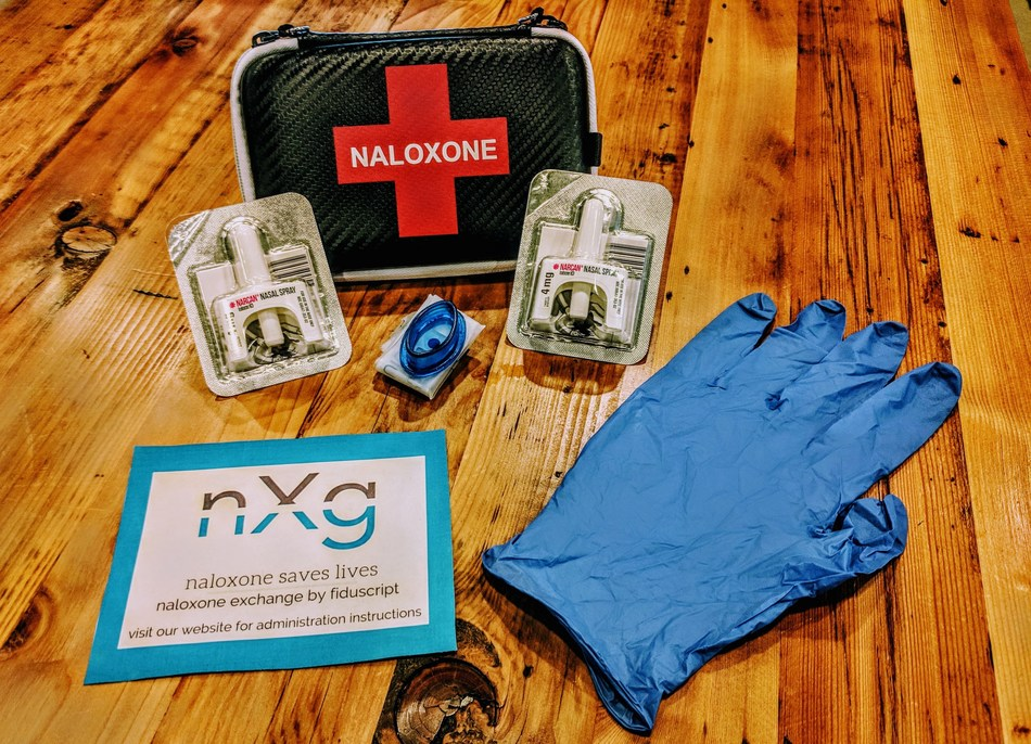 A Naloxone kit that can be purchased on Naloxone Exchange (includes case, 2 doses of Naloxone, card, mouth guard and gloves for CPR).