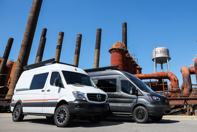 The all new Storyteller Overland MODE 4x4 Adventure Van Series shown here on the Mercedes-Benz Sprinter and Ford Transit platforms.