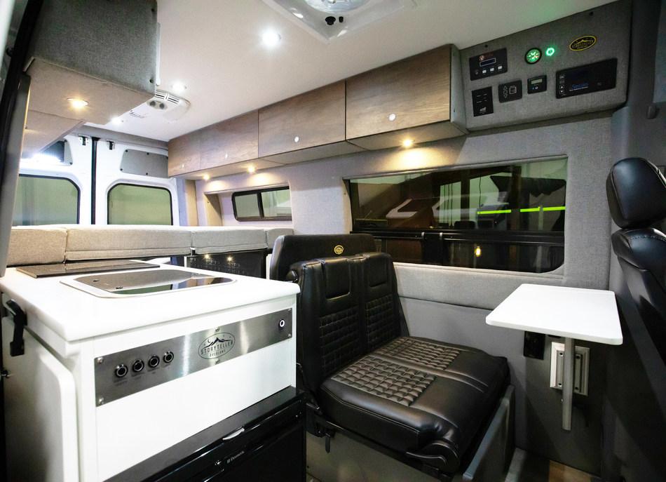 The all new Storyteller Overland MODE 4x4 Adventure Van Series interior shown here on the Mercedes-Benz Sprinter.