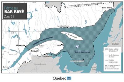 Pêche au bar rayé - Zone 21 (Groupe CNW/Ministère de l'Énergie et des Ressources naturelles)