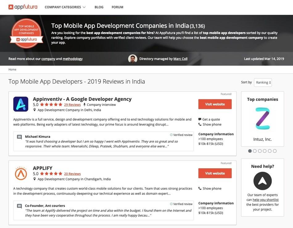 AppFutura Presents the Best App Development Companies in