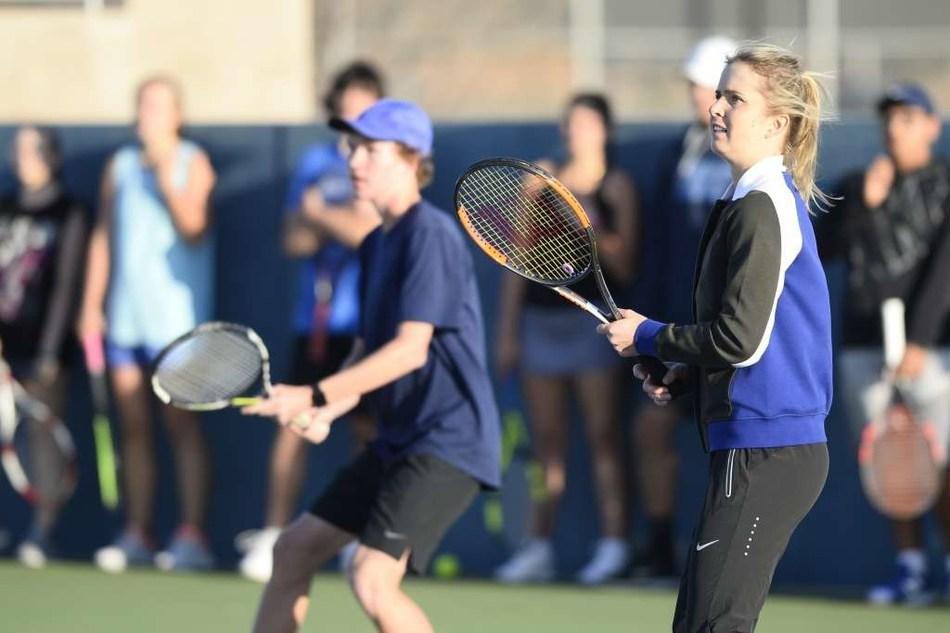 Elina Svitolina instructing students at Bush Tennis Center in Midland, TX
