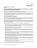 Bellatrix Announces 2018 Year End Reserves Highlighted by 13% Reserve Growth and Low Cost Reserve Additions (CNW Group/Bellatrix Exploration Ltd.)