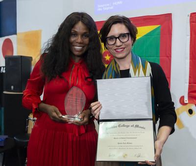Yvette Noel-Schure with Maria M. Iturriaga, Executive Director Berklee Valencia. Photo by Tato Baeza.