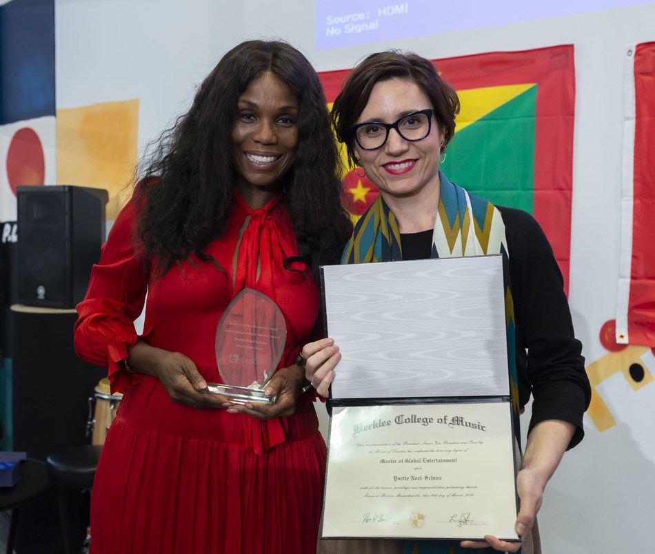 Yvette Noel-Schure with Maria M. Iturriaga, Executive Director Berklee Valencia. Photo by Tato Baeza. (PRNewsfoto/Berklee College of Music Valenc)