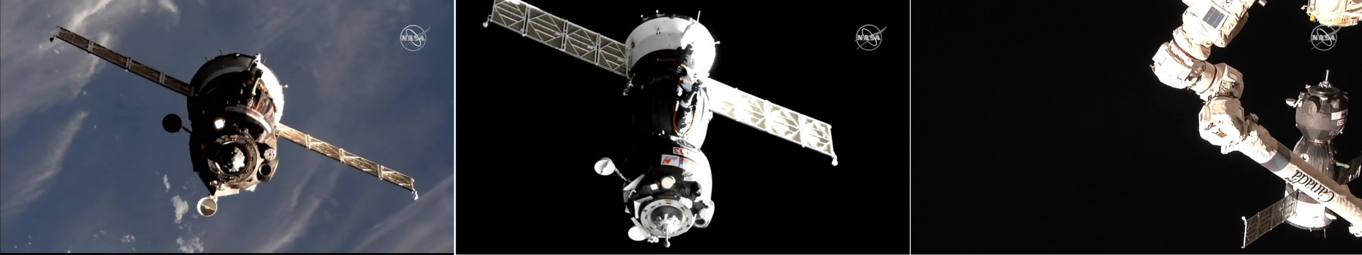 This image compilation shows the Soyuz spacecraft carrying astronauts Nick Hague and Christina Koch of NASA and cosmonaut Alexey Ovchinin of the Russian space agency Roscosmos at a distance of 70, 15 and less than two meters from the International Space Station, where it docked at 9:01 p.m. EST March 14, 2019. Credits: NASA Television