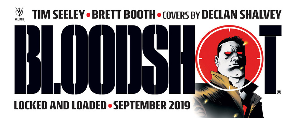 Promotional image for BLOODSHOT (2019) #1, out September 2019 from Valiant Entertainment, a subsidiary of DMG Entertainment. Artwork by Declan Shalvey