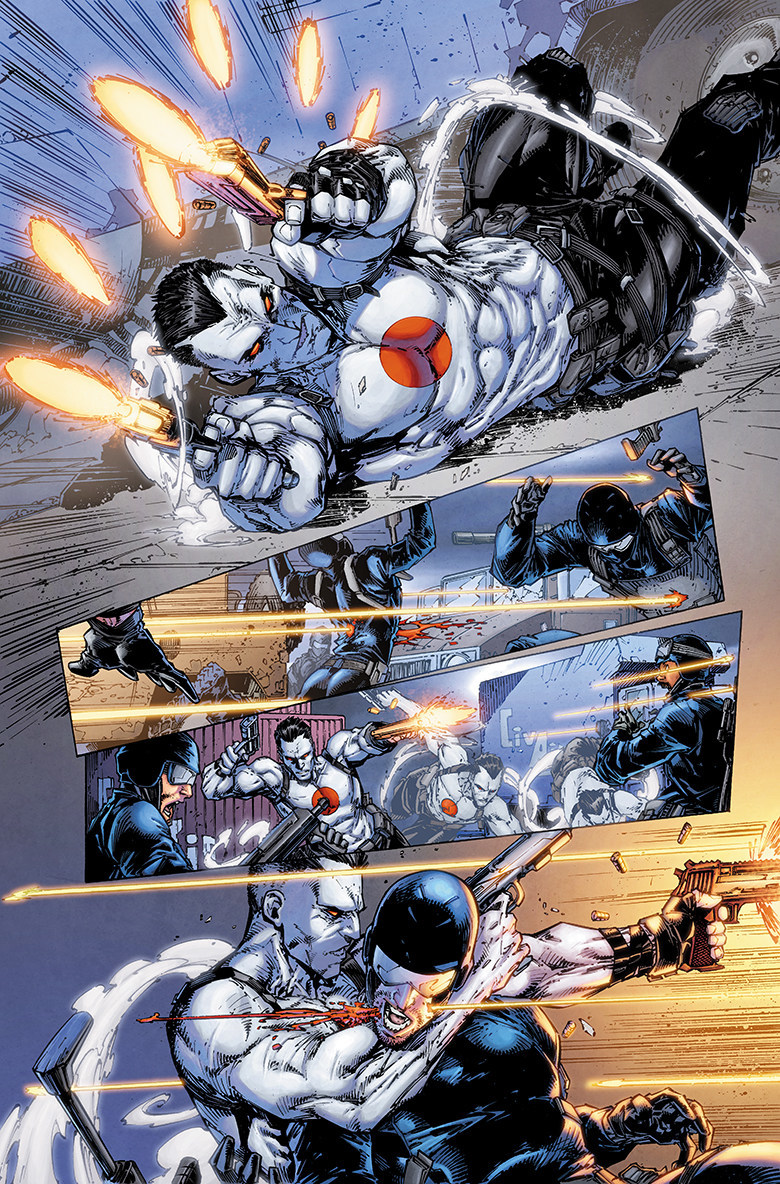 Page from BLOODSHOT (2019) #1, out September 2019 from Valiant Entertainment, a subsidiary of DMG Entertainment. Artwork by Brett Booth, Adelso Corona, and Andrew Dalhouse.