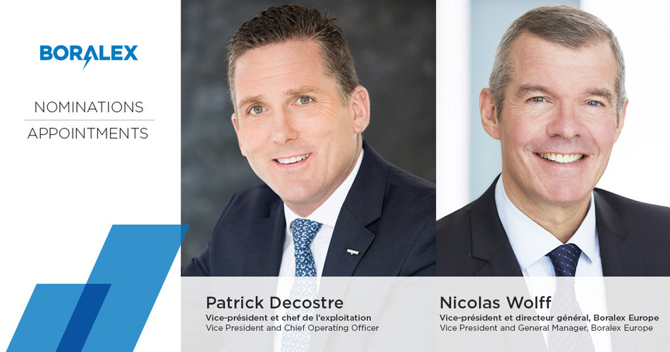 Nominations Patrick Decostre et Nicolas Wolff (Groupe CNW/Boralex inc.)