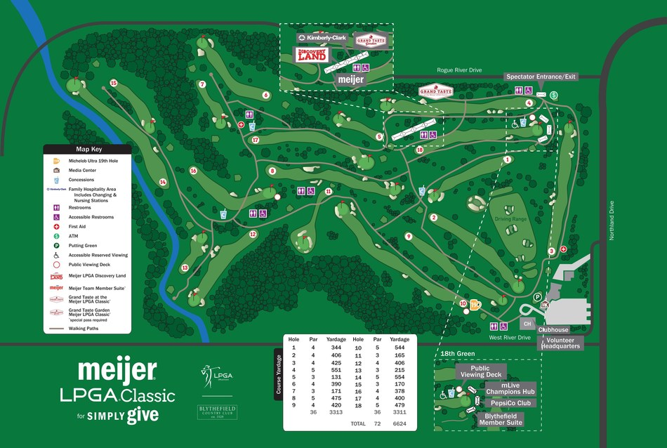 The course at Blythefield Country Club will be rerouted for the Meijer LPGA Classic for Simply Give to provide an even better fan experience.