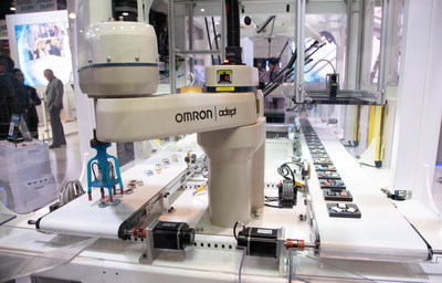 Omron's interactive Factory Harmony exhibit demonstrates the factory floor of the future with machines that can help maximize throughput.