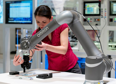Omron's TM Series collaborative robots are designed to work safely and flexibly in tandem with a human operator.