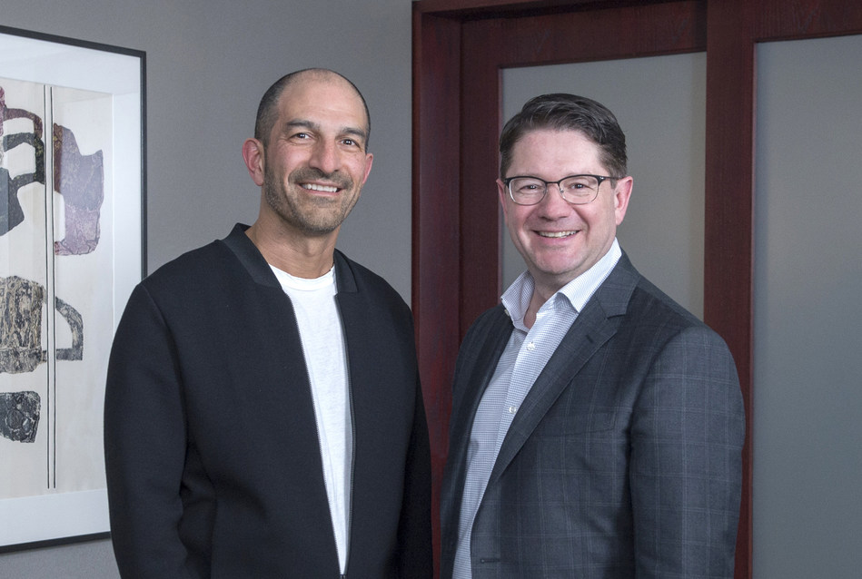 The Co-Chairs of Centraide of Greater Montreal's 2019 campaign, Andrew Lutfy, President and Chief Executive Officer of Groupe Dynamite and Carbonleo, and Éric Martel, President and Chief Executive Officer of Hydro-Québec. (CNW Group/Centraide of Greater Montreal)
