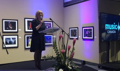 Newly appointed Chair of the Music Canada Board of Directors Jennifer M. Sloan unveils Music Canada's new Advisory Council at the 2019 JUNO Awards Chair's Reception (CNW Group/Music Canada)
