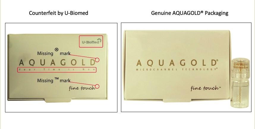 Genuine AQUAGOLD® Packaging vs U-BioMed Counterfeit packaging