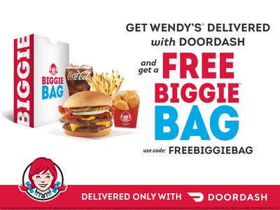 Wendy's is teaming up with DoorDash to give fans a chance to score two great offers through Sunday, March 24. Use the code FREEBIGGIEBAG at checkout to receive a free $5 Biggie Bag – complete with the new Bacon Double Stack, 4-piece chicken nuggets, small fries and a small drink, while supplies last – and receive $0 delivery with any DoorDash order of $10 or more.