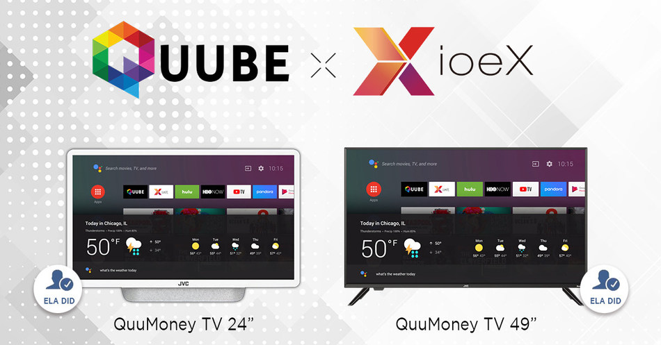 Taiwanese startup ioeX announces partnership with QUUBE to develop the world's first blockchain TV (QuuMoney TV) with decentralized applications. The product will launch and ship with JVC smart TV products in the second half of 2019. Photo/provided by ioeX