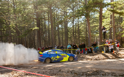 Oliver Solberg slides past a spectator area at the 2019 Rally in the 100 Acre Wood on the way to a second-place finish in his first event with Subaru Motorsports USA.