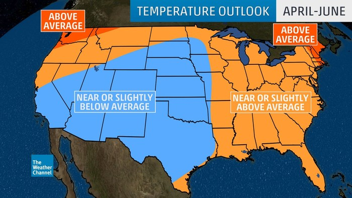 Three-month temperature outlook for April through June 2019 from The Weather Company, an IBM Business