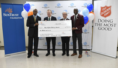 The SunTrust Foundation presents a $1 million grant to Boys & Girls Clubs of America to support workforce readiness in a ceremony on Friday, March 15, 2019. Pictured left to right: Stan Little, president, SunTrust Foundation; Jim Clark, president & CEO, Boys & Girls Clubs of America; Major Bob Parker, The Salvation Army Metro Atlanta Command; and Joshua Dickerson, executive director, The Salvation Army Boys & Girls Clubs of Greater Atlanta.