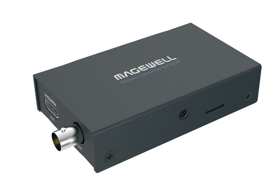 Magewell's Pro Convert AIO RX decoder converts live NDI streams to SDI or HDMI outputs, bringing efficient video-over-IP workflows to presentation applications such as digital signage and video walls.