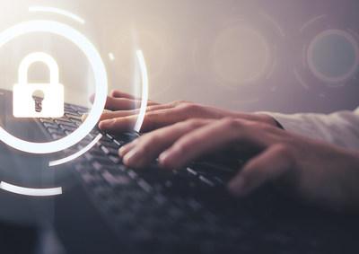 Hand typing laptop keyboard. Internet security ; Shutterstock ID 1336674017 (PRNewsfoto/Actsoft, Inc.)