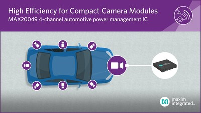 Maxim Integrated's MAX20049 ultra-compact power management IC integrates four power supplies into a tiny footprint, making it ideal for small camera modules.