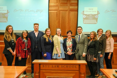 (left to right) Selected participants of the inaugural BYU LawStories, a storytelling initiative for law school students: Erin Bartenstein, University Wisconsin; Lora Morgan Church, University of New Mexico; Erling Oster, University of Nevada-Las Vegas; Dorie Arthur, University of Richmond; Carlisle Shelson, University of Illinois; Rebecca Clarke (BYU Law employee); Walter Garcia, Northwestern; Sloane Henry, University of Florida; Shaunna Sanders, BYU Law; and Katie Rane, BYU Law.