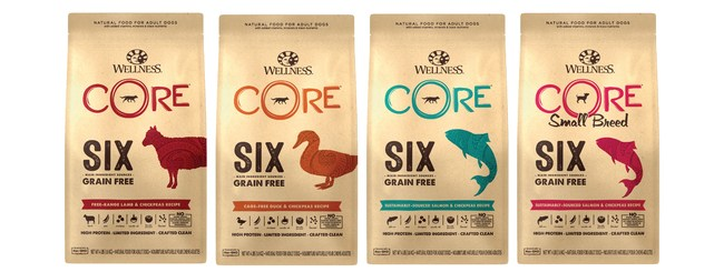 Crafted with just six main ingredient sources, Wellness CORE SIX is a clean, limited-ingredient, high-protein diet that delivers the balanced nutrition your dog needs to thrive.