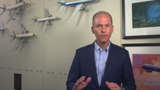 Boeing Chairman, President and CEO Dennis Muilenburg recorded a video message from Boeing Headquarters in Chicago on March 18, 2019, to address airlines, passengers and the aviation community.