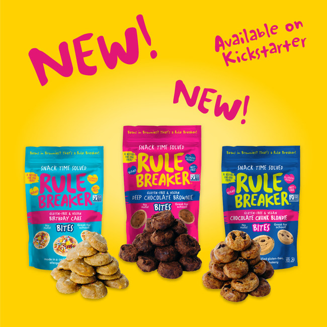 Rule Breaker Snacks®, maker of innovative vegan, gluten-free, bean-based treats today launched a crowdfunding campaign on Kickstarter aimed at raising funds to make a second product line, Rule Breaker Bites, a reality.