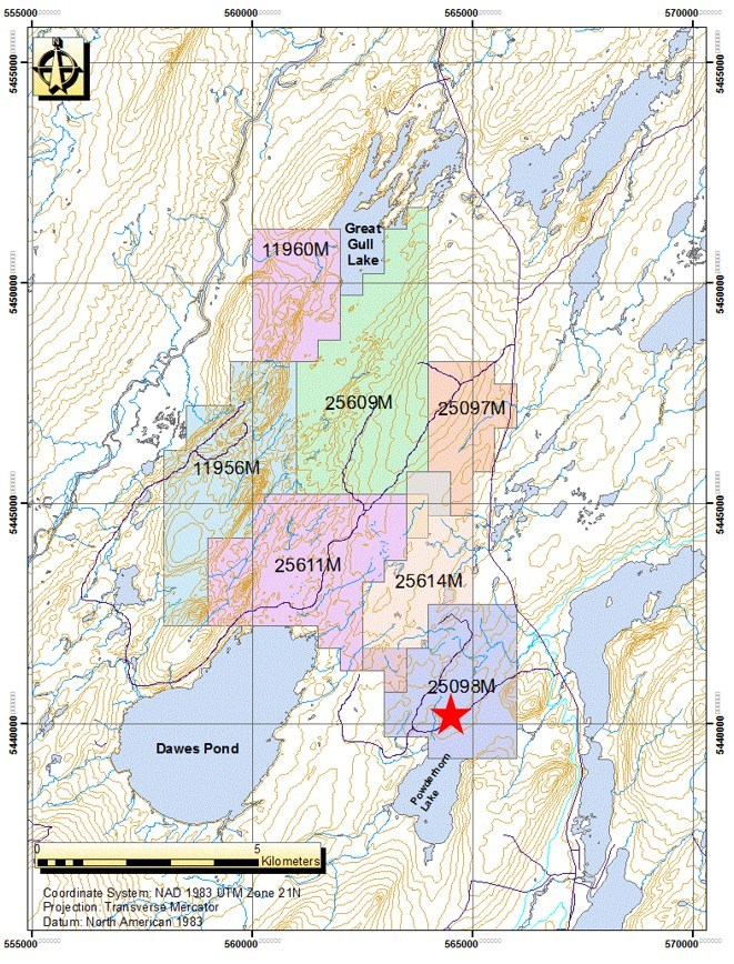 Figure 3 - Champion's Powderhorn property in Newfoundland, Canada. Red star indicates the location of the Powderhorn discovery. (CNW Group/Champion Iron Limited)