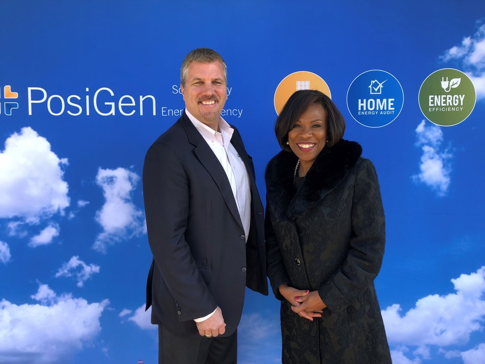 PosiGen CEO Tom Neyhart with Baton Rouge Mayor Sharon Weston Broome at the Grand Opening of PosiGen's Baton Rouge office.