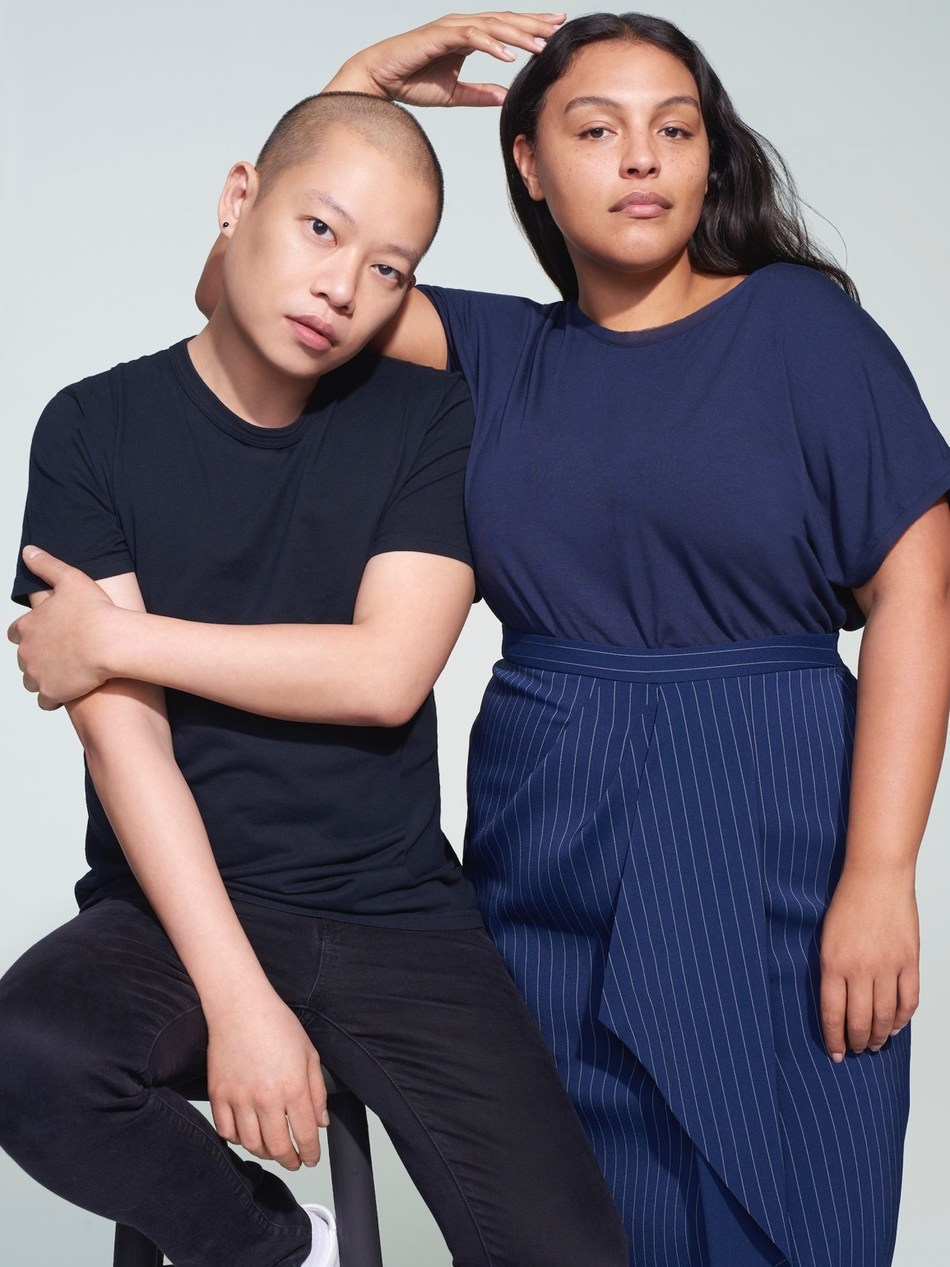 Jason Wu with Paloma Elsesser wearing Jason Wu/ELOQUII Spring 2019 Collection