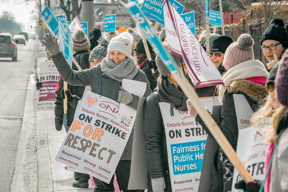 Windsor-Essex County Health Unit nurses on the picket line the first day of their strike for an equitable collective agreement that recognizes the critical work they do to protect the public's safety everyday—and doesn't widen the pay gap between men and women. March 8, 2019 Photo credit: Gregory Bennett/ONA (CNW Group/Ontario Nurses' Association)