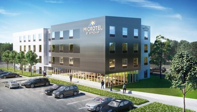 Above, a rendering of Microtel by Wyndham's new Moda prototype designed to optimize efficiences, elevate the brand's aesthetic and reduce building costs for developers.