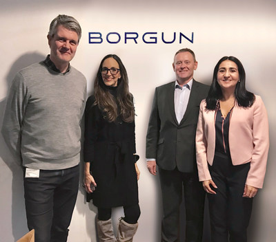 From left to right, Sigurjon Thrainsson (Borgun's Software Development Manager), Rosamaría Mussfeldt (novae's Head of Global Innovation), Pétur Fridriksson (Borgun's General Manager, Card Services and Business Development) and Adriana P. Sánchez Krieger (novae's Head of Europe)""