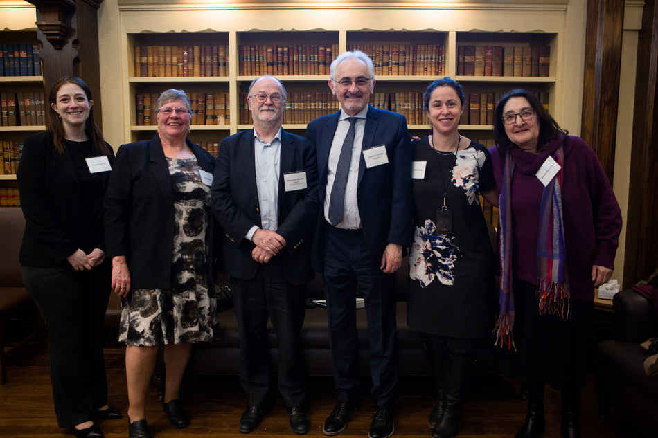 Members of the FLLSS Project's steering committee gather with the Law Society Treasurer at the launch reception.  From left to right: Annie Noa Kenet, Helena Birt, Treasurer Malcolm Mercer, Senior Family Justice George Czutrin, Tami Moscoe and Rachel Birnbaum (CNW Group/The Law Society of Ontario)