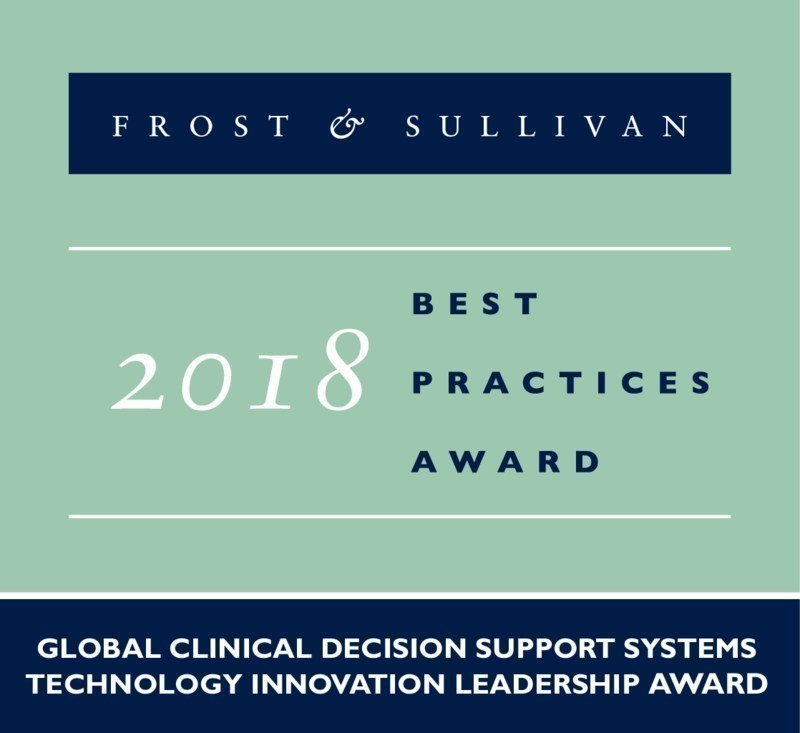 2018 Global Clinical Decision Support Systems Technology Innovation Leadership Award (PRNewsfoto/Frost & Sullivan)