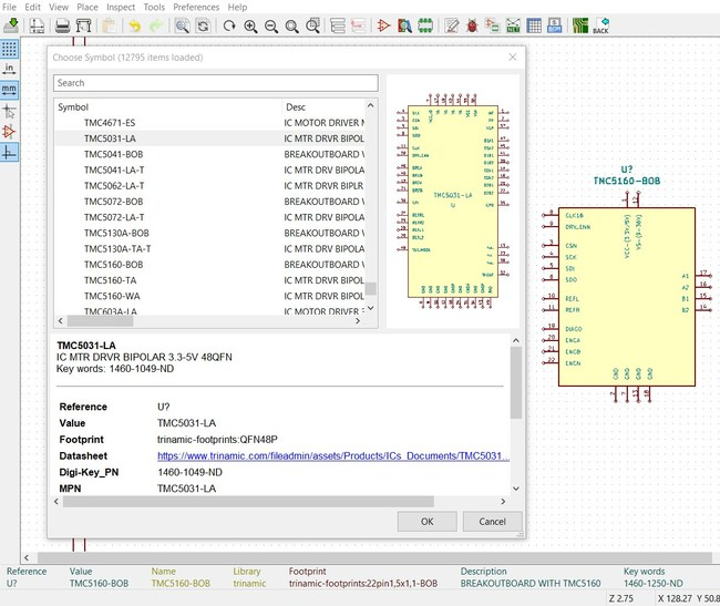 KiCad Supplier Library Screenshot