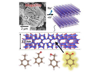 The structure of magadiite features pores that have a selective adsorption function