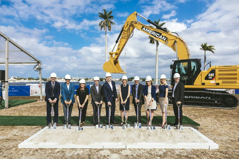 Great Gulf Breaks Ground in West Palm Beach, FL. From L – R: Aaron Knight, Siamak Hariri, Colleen Trabold, John Tonti, Niall Collins, Mayor Jeri Muoio, Frank Trabold, Margaret Cullen, Amanda Wilson Watkins and Mike Kirchmair. (CNW Group/Great Gulf)