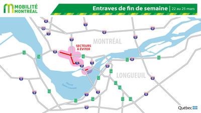 Carte générale - Entraves de fin de semaine - 22 au 25 mars (Groupe CNW/Ministère des Transports)