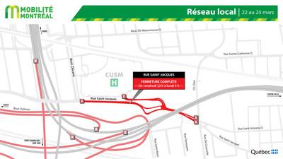 Rue Saint-Jacques et réseau local (Groupe CNW/Ministère des Transports)